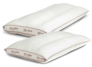 Sleep for Success back sleeper pillow is made of Damask woven stripe cover is 50% cotton 50% TENCEL Lyocell with a 400 thread count